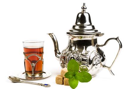 Traditional Arabic mint tea on white backgroun