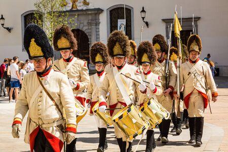 bonaparte: Bratislava, Slovakia - 21 May 2016: Commemorate the anniversary of the siege of Bratislava (Pressburg) troops of Napoleon Bonaparte Editorial