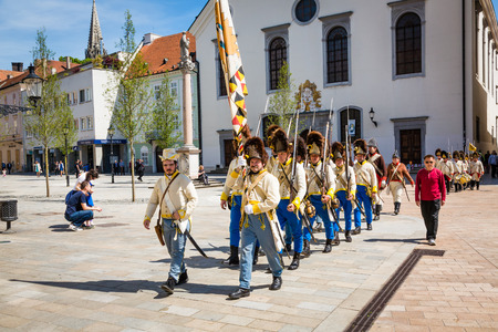 siege: Bratislava, Slovakia - 21 May 2016: Commemorate the anniversary of the siege of Bratislava (Pressburg) troops of Napoleon Bonaparte Editorial