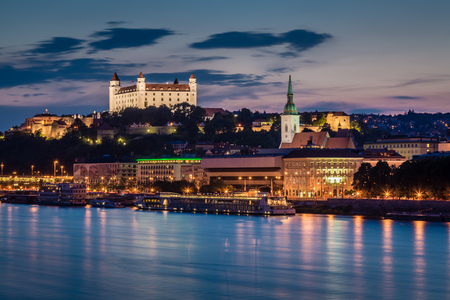 presidency: Evening view of Bratislava, the capital city of Slovakia. Presidency of the Council of the European Union - Slovakia (Jul�Dec 2016)