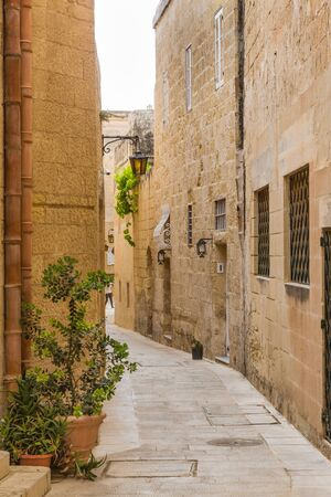presidency: Silent and magical alley in Mdina, Malta - Old Capital and the Silent City of Malta - Medieval Town Stock Photo