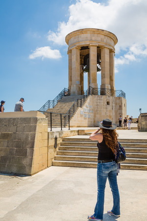 siege: Valletta, Malta - May 05, 2016: Siege Bell War Memorial in Valletta