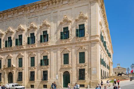 castille: Valletta, Malta - May 05, 2016: Auberge de Castille in Valletta Editorial