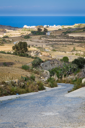 stony: Reclamation of stony soil on the island of Malta is hard for small farmers. Stock Photo