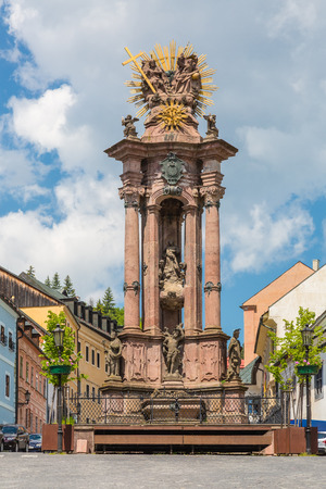 Sculpture of the Holy Trinity in the historic mining town of Banska Stiavnica, Slovakia