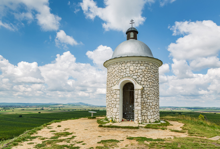 Hradistek chapel on a hill in the wine village Velke Pavlovice, Moravia, Czech Republic Stock Photo