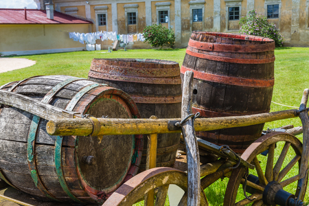 Farm yard the chateau Milotice in Moravia, Czech Republic Stock Photo