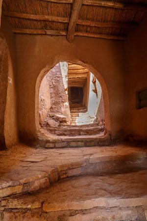 Aisles inside the Ksar Ait Ben Haddou in Morocco.