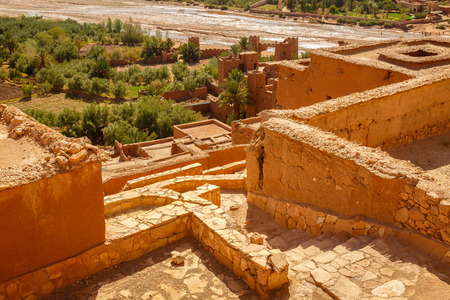 View of oasis under the Ksar Ait Ben Haddou in Morocco