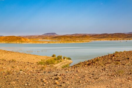 reservoirs: Water reservoirs El Mansour Eddahbi near Ouarzazate in Morocco consists of several connected lakes. Stock Photo