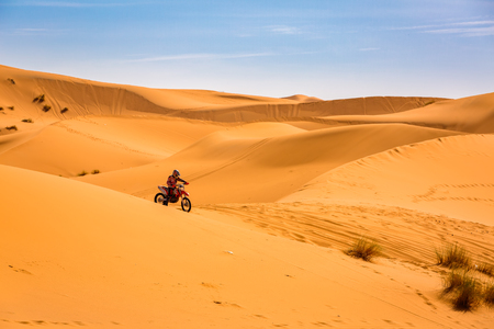 Sahara Desert in Morocco is also a place for different extreme sports. Stock Photo