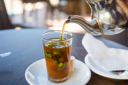 teahouse: Traditional mint tea, also known as Berber whiskey. Teahouse in Sidi Ifni, Morocco.