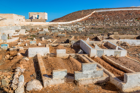 Cemetery in Sidi Ifni, Morocco. In the cemetery are buried people of different ethnicities and religions.