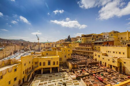 amoniaco: Traditional processing leather tannery in Fes, Morocco
