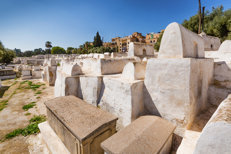 Jewish Cemetery at Synagogue in Fes Medina, Morocco Editorial