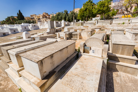 yiddish: Jewish Cemetery at Synagogue in Fes Medina, Morocco Editorial