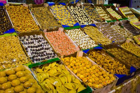 souq: Traditional market with olives, pickled lemons, fruit and candy in Medina Meknes, Morocco