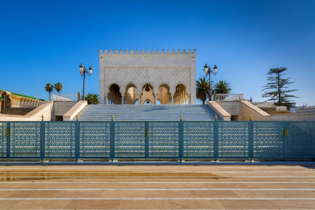 worshiped: Mausoleum of very worshiped Mohammed V. in Rabat, Morocco