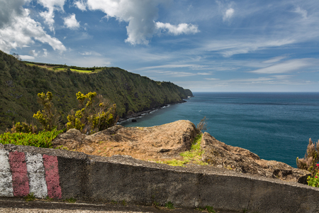 geological formation: Coast and cliffs near Nordeste on the island of Sao Miguel. Sao Miguel is part of the Azores archipelago in the Atlantic Ocean. Stock Photo