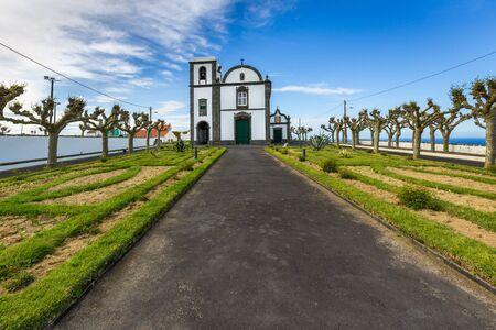 Church in the village of Fenais da Ajuda on Sao Miguel Island, archipelago of the Azores in the Atlantic Ocean belonging to Portugal