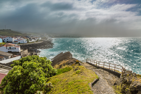 breakwaters: Viewpoint of the ocean coast at Sao Rogue on the Sao Miguel Island. Azores archipelago in the Atlantic Ocean belonging to Portugal.