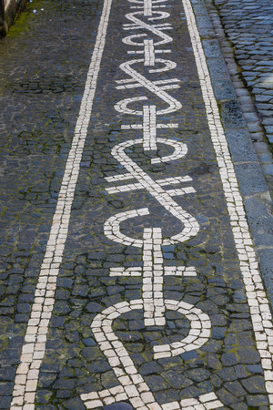 Streets and walkways of Ponta Delgada. Ponta Delgada on the island of Sao Miguel is the capital of the Azores, Portugal.