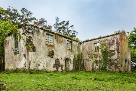 Ruins of an abandoned house in Sao Rogue on Sao Miguel. The island of Sao Miguel is part of the Azores archipelago, Portugal.