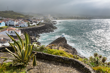 Viewpoint of the ocean coast at Sao Rogue on the Sao Miguel Island. Azores archipelago in the Atlantic Ocean belonging to Portugal.