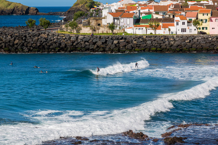Sao Rogue, Azores, Portugal - May 16, 2017: Surf School in Sao Rogue on Sao Miguel Island, Azores archipelago in the Atlantic Ocean, Portugal
