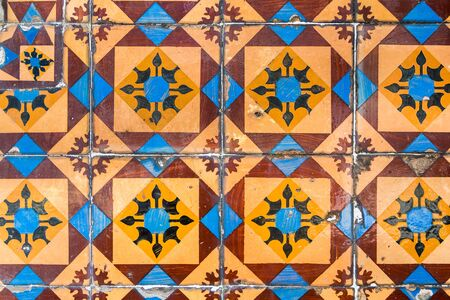 Typical decoration of the facade of the house . Traditional ceramic tiles . Stok Fotoğraf - 80843355