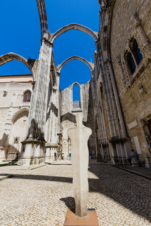 Carmo Convent in Lisbon, Portugal. The medieval convent was ruined during the sequence of the 1755 Lisbon earthquake.