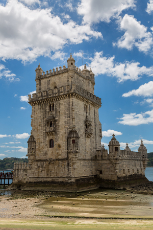 belem: Lisbon, Portugal - May 18, 2017: The historic Belem Tower on the banks of the river Tagus Editorial