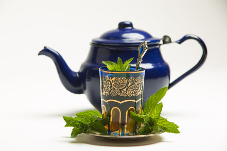 Traditional Arab mint tea in a traditional cup with mint leaves Stock fotó