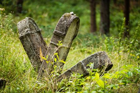 Old abandoned Jewish cemetery above the village Dobra voda, Slovakia.