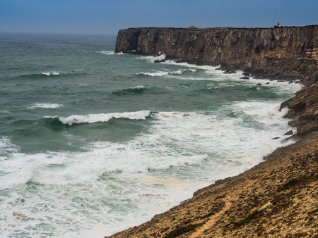 Stormy Atlantic at the most southwestern cape of Europe. Southwest coast of Portugal.