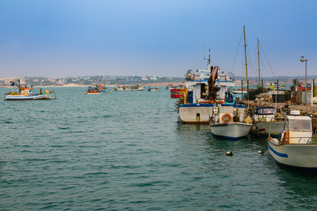 Fishing boats in the port of Sagres in the southwest cape of Europe. Most southwestern Atlantic coast of Portugal. Editorial