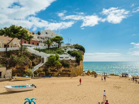 Carvoeiro , Portugal - October 20, 2017: Carvoeiro beach on the southern Atlantic coast of Portugal.