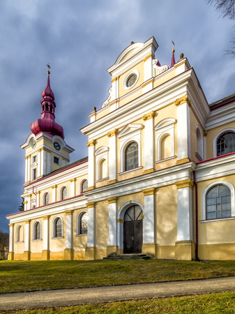 Church of St. Benedict in the village Pustimer, Moravia in Czech Republic Stock Photo