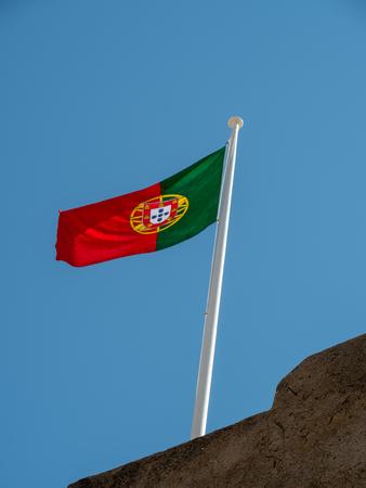 Portuguese flag at Castro Marim Castle, Algarve, Portugal