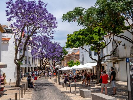 Lagos, Portugal - Jun 18, 2018: In a typical alley town of Lagos, Algarve