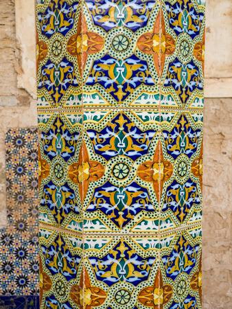 Decoration of ruins of Dar Caid Hajjis old mansion near Essaouira, Morocco