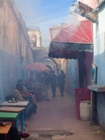 Essaouira, Morocco - October 31, 2018: Popular alley of the residents of Essaouira. Here they go to grilled fish and mint tea. Editorial