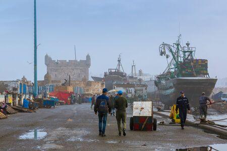 Essaouira, Morocco - November 1, 2018: Morning in the old fishing port of Essaouira