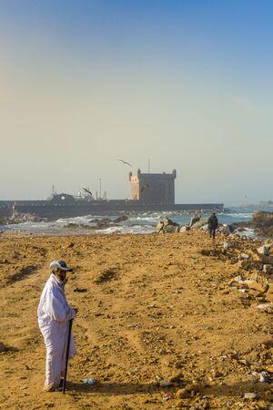 Essaouira, Morocco - November 1, 2018: Early morning on the coast in Essaouira