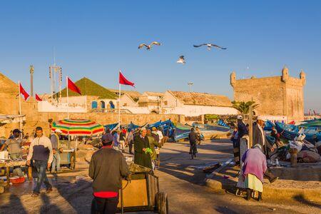 Essaouira, Morocco - November 4, 2018: Sunny morning in the old fishing port of Essaouira