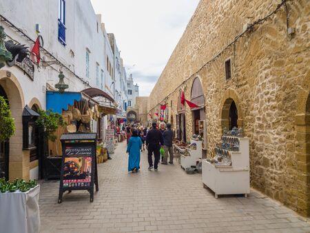 Essaouira, Morocco - November 4, 2018: In the streets of Medina in Essaouira