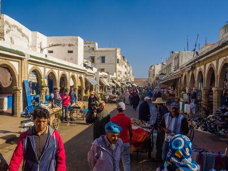Essaouira, Morocco - November 2, 2018: In the streets of Medina in Essaouira