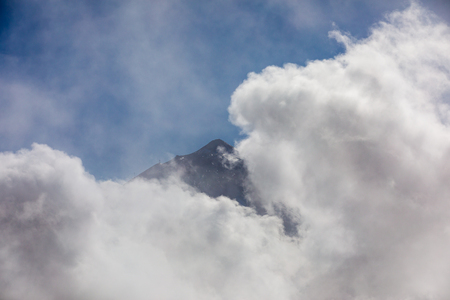 Pico de Teide volcano in the clouds. Tenerife, Canary Islands, Spain.