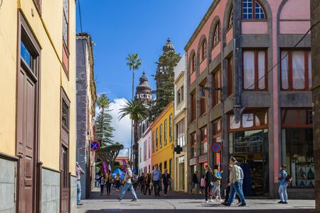 San Cristobal - March 30, 2019: Alley in the center of San Cristobal, Tenerife, Canary Island, Spain Editorial