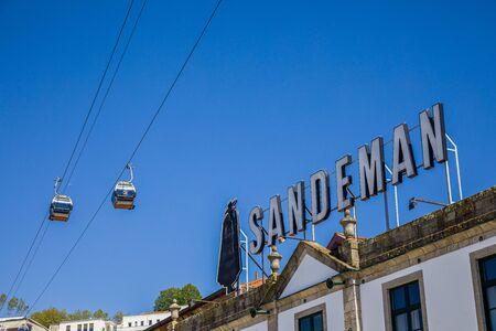 Porto, Portugal -  May 28, 2019: Tourist attraction - Teleferico de Gaia cable car in Porto, Portugal